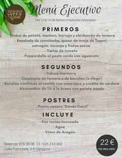 Nuevo menú semanal en DONDE CAROL por 22 euros (del lunes, 12, al viernes, 16)