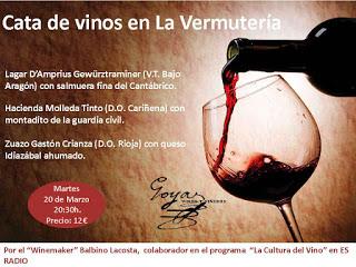 Cata de vinos (martes, 20)