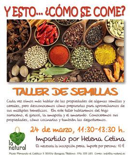 Taller de cocina sobre semillas  en LA NATURAL (sábado, 24)
