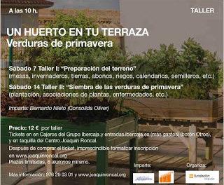 """Taller """"Un huerto en tu terraza"""" (sábado 14)"""