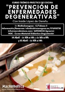 """Curso de cocina """"Prevención de enfermedades degenerativas"""" (sábado, 14, y domingo, 15)"""
