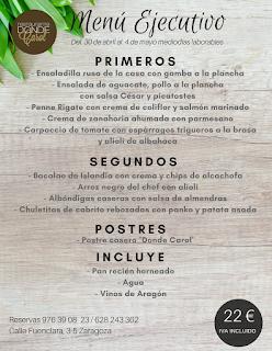 Nuevo menú semanal en DONDE CAROL, por 22 euros (del lunes, 30, al viernes, 4, salvo el martes)