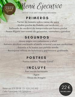 Nuevo menú semanal en DONDE CAROL por 22 euros (del lunes, 9, al viernes, 13)