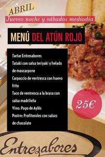 Menú del atún rojo (jueves noche y sábados al mediodía de abril)