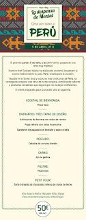 Cena con sabor a Perú (jueves, 5)