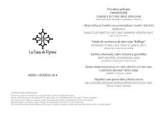 Cena cata maridaje en LOS CABEZUDOS. Cava de Pyrene (jueves, 12)