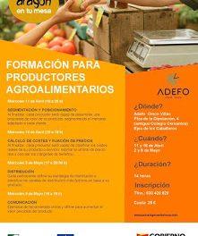 EJEA DE LOS CABALLEROS. Formación para productores agroalimentarios (11 y 18 de abril; 2 y 9 de mayo)