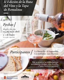 REMOLINOS. II Ruta del Vino y la Tapa (del 20 de abril al 1 de mayo)
