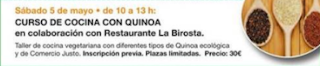 Curso de cocina con quinoa (sábado, 5)