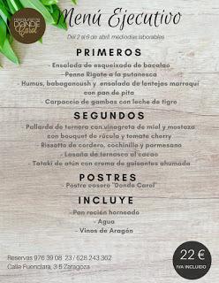 Nuevo menú semanal en DONDE CAROL por 22 euros (del lunes, 2, al viernes, 6)