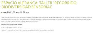 """Taller """"Recorrido por la biodiversidad sensorial"""" (sábado, 26)"""