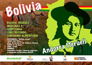 Charla. Bolivia, mujeres indígenas y campesinas construyendo soberanía alimentaria (martes, 22)