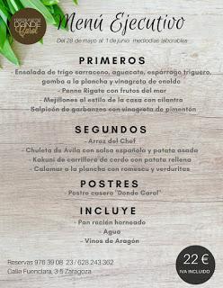 Nuevo menú semanal en DONDE CAROL, por 22 euros (del lunes, 28, al viernes, 1)