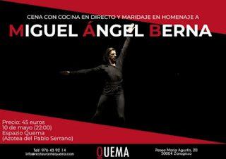 Cena homenaje al bailarín aragonés Miguel Ángel Berna (jueves, 10)