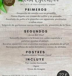 Nuevo menú semanal en DONDE CAROL, por 22 euros (del lunes, 21, al viernes, 25)