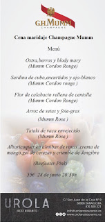 Cena maridada con Champagne Mumm (jueves, 28)