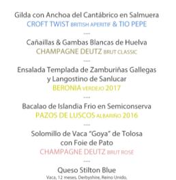 Cena cata maridaje en LOS CABEZUDOS. Champagne Deutz & González Byass (jueves, 28)