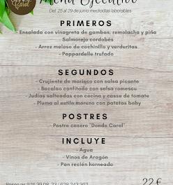 Nuevo menú semanal en DONDE CAROL, por 22 euros (del lunes, 25, al viernes, 29)