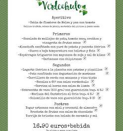 Menú semanal en VERDECHULO (de martes a sábado)