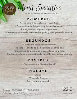 Nuevo menú semanal en DONDE CAROL, por 22 euros (del lunes, 9, al viernes, 13)