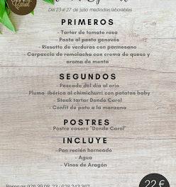 Nuevo menú semanal en DONDE CAROL, por 22 euros (del lunes, 23, al viernes, 27)