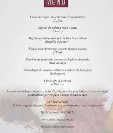Cena maridada con cerveza (jueves, 27)