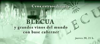 Blecua y grandes vinos con cabernet, cena en ABSINTHIUM (jueves, 20)