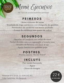 Nuevo menú semanal en DONDE CAROL, por 22 euros (del lunes, 1, al viernes, 5)