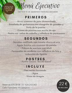 Nuevo menú semanal en DONDE CAROL, por 22 euros (del lunes, 10, al viernes, 14)
