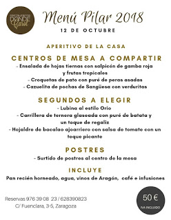 Menú especial del Día del Pilar Donde Carol (viernes, 12)