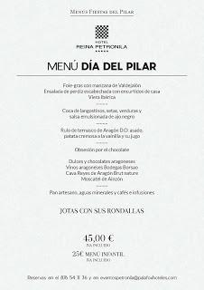 Menú especial del Día del Pilar en el Hotel Reina Petronila (viernes, 12)