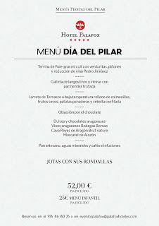 Menú especial del Día del Pilar en el Hotel Palafox (viernes, 12)