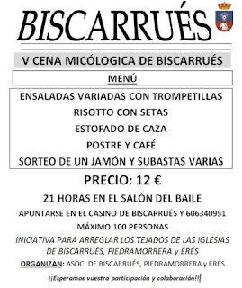 BISCARRUÉS. Cena micológica (domingo, 4)