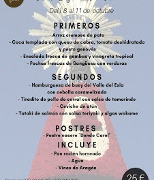Nuevo menú semanal en DONDE CAROL, por 22 euros (del lunes, 7, al jueves, 11)