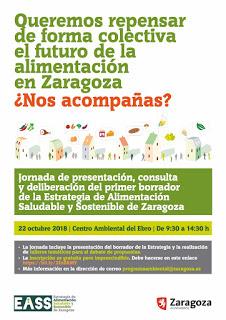 Jornada de presentación, consulta y deliberación del primer borrador de la Estrategia de Alimentación Saludable y Sostenible de Zaragoza (lunes, 22)