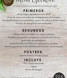 Nuevo menú semanal en DONDE CAROL, por 22 euros (del lunes, 29, al viernes, 2 de noviembre, laborables)