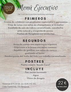 Nuevo menú semanal en DONDE CAROL, por 22 euros (del lunes, 5, al viernes, 9 de noviembre, laborables)