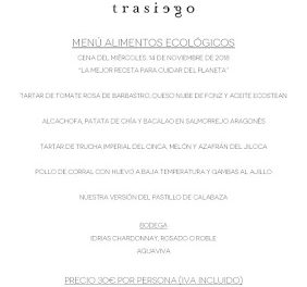 BARBASTRO. Cena ecológica en TRASIEGO maridada con vinos ecológicos DOP Somontano (miércoles, 14)
