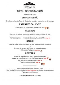 SOMMOS RESTAURANTE menu degustación