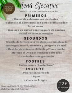 Donde Carol menu 19-01-08