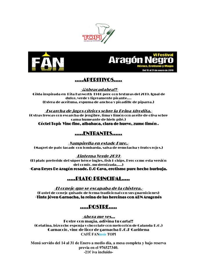 menú topi Aragón negro 2019