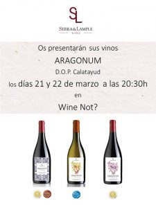 Imagen cartel presentación degustación vinos Aragonum en Wine Not Serra & Lample Wines