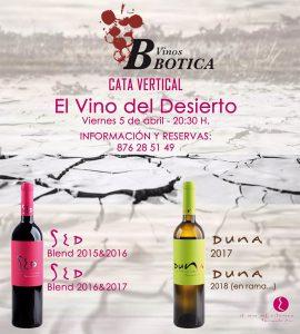 Cata de vinos del desierto SED y DUNA en Vinos Botica