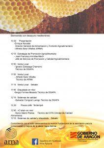 Programa jornada Nuevas modalidades e incentivos para la comercialización de la miel en Aragón