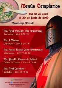 Cartel Menús Templarios del Maestrazgo 2019