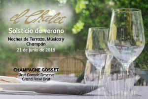 Cena maridada con champán en Restaurante El Chalet
