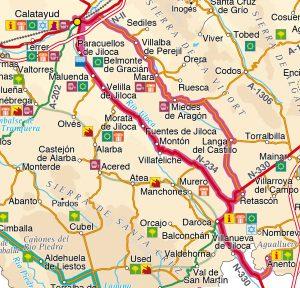 Mapa ruta 4 provincia Zaragoza