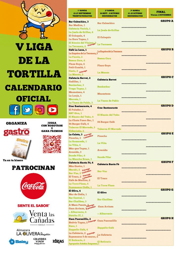2019 Cartel Calendario 16avos V Liga de la tortilla