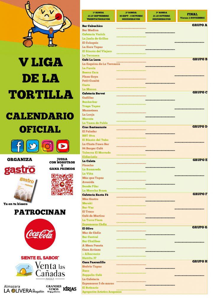 lIGA TORTILLA 2019 Cartel Calendario 32avos BAJA