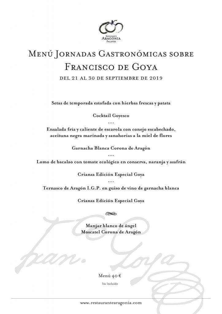 ARAGONIA _ Menú Jornadas Goya sept 2019
